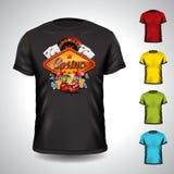 Vectordiet-shirt op een thema van de casinovakantie met het gokken elementen wordt geplaatst Stock Foto