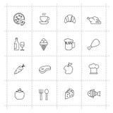 Vectordievoedselpictogrammen op witeachtergrond worden geplaatst vector illustratie