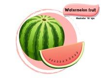 VectordieWatermeloenfruit op kleurenachtergrond wordt geïsoleerd, illustrator 10 eps Royalty-vrije Stock Foto