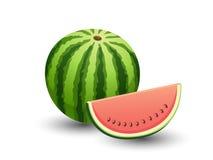 VectordieWatermeloenvruchten op witte achtergrond worden geïsoleerd Royalty-vrije Stock Foto's