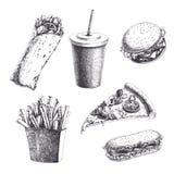 Vectordiewijnoogst met gegraveerde snel voedselillustraties wordt geplaatst Hand D royalty-vrije illustratie