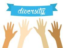 Vectordiversiteitsconcept, handen, rassen stock illustratie