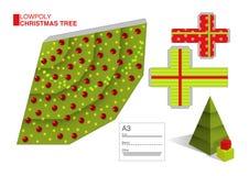 Vectordiy-patroon voor een Kerstboom en dozen Stock Afbeelding