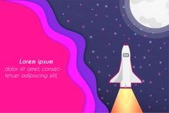Vectordocument Besnoeiing en het heelal, en er waren raketten die en mooie kleurrijke tendens stijgen vector illustratie