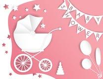 Vectordocument besnoeiingsillustratie met de wandelwagen van de baby De douche van de baby stock afbeeldingen