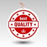 Vectordocument rood beste het prijskaartjeetiket van de kwaliteitszegel Stock Afbeelding