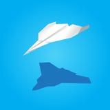 Vectordocument vliegtuig blauwe achtergrond Royalty-vrije Stock Afbeelding