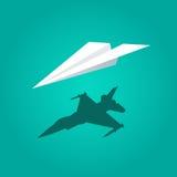 Vectordocument vliegtuig groene achtergrond Royalty-vrije Stock Afbeelding