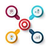Vectordoel met pijlen Malplaatje voor cyclusdiagram, grafiek, presentatie en grafiek Bedrijfs infographic concept met royalty-vrije stock foto's