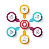Vectordoel met pijlen Malplaatje voor cyclusdiagram, grafiek, presentatie en grafiek Bedrijfs infographic concept met royalty-vrije stock foto