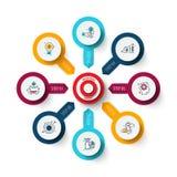 Vectordoel met pijlen Malplaatje voor cyclusdiagram, grafiek, presentatie en grafiek Bedrijfs infographic concept met stock foto's