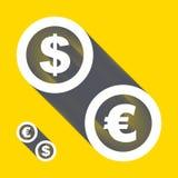 Vectordollar, euro pictogrammen Geplaatste tekens Vector Royalty-vrije Stock Foto's
