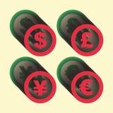 Vectordollar, euro, Yen en pondpictogrammen tekens Stock Afbeelding