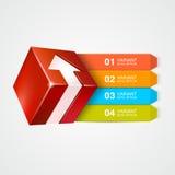 Vectordoos met pijl Metaball kleurrijk rond diagram met bars en tekst Stock Afbeelding