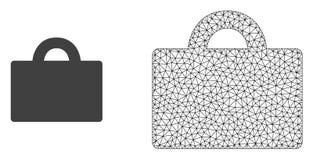 Vectordraadkader Mesh Baggage en Vlak Pictogram vector illustratie