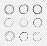 VectorDrawn Circles, Scribble Lines Drawings on Transparent Background. Vector Hand Drawn Circles, Scribble Lines Drawings on Isolated Transparent Background stock illustration