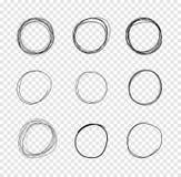 VectorDrawn cirklar, klottrar linjer teckningar på genomskinlig bakgrund stock illustrationer