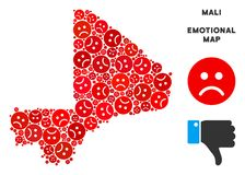 Vectordroefheid Mali Map Mosaic van Droevige Smileys Stock Illustratie