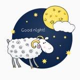 Vectordruk met beelden leuke schapen op achtergrond Stock Foto's