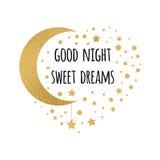 Vectordruk met tekst Goede nacht, zoete dromen Het wensen van kaart witing kaart met maan en sterren in gouden kleuren op wit Royalty-vrije Stock Foto
