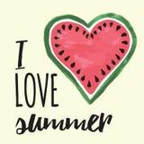 Vectordruk met watermeloen en het van letters voorzien Typografische voor het drukken geschikte banner voor de zomerontwerp Stock Foto
