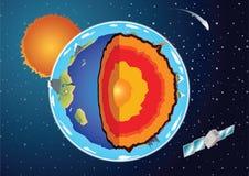 Vectordwarsdoorsnede van aarde Stock Foto