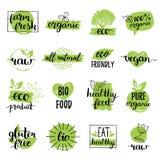 Vectoreco, organische, bioemblemen of tekens Veganist, gezonde die voedselkentekens, markeringen voor koffie wordt geplaatst, res Stock Afbeeldingen