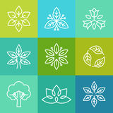 Vectorecologie en organische emblemen in overzichtsstijl Stock Foto's