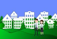 Vectorecologiestad en Jonge Familie, Huisvestende Conceptenillustratie, Origamistijl royalty-vrije illustratie