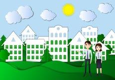 Vectorecologiestad, Huisvestende Conceptenillustratie, Kleurrijk Document Art. vector illustratie