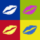 vectored ретро губной помады поцелуя Стоковые Изображения RF