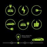 Vectorelektrisch voertuig Elektrisch autopictogram Hybride autoillustratie Royalty-vrije Stock Afbeeldingen