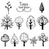 Vectorelementen, bomen getrokken inkt Stock Afbeeldingen