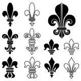 Vectorelementen heraldische koninklijke lelie Royalty-vrije Stock Afbeeldingen