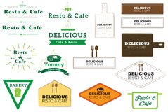 Vectorembleem en Pictogram voor Koffie en Restaurant Stock Afbeelding