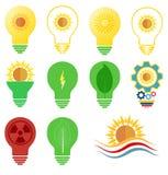 Vectorembleem en pictogrammen geplaatst energie en het thema van de zonmacht Stock Fotografie