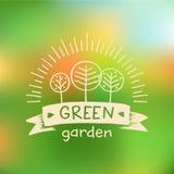 Vectorembleem groene tuin Embleemnatuurvoeding stock illustratie