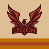 Vectorembleem met een beeld van een adelaar legioen Stock Fotografie