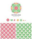 Vectorembleem met naadloos patroon royalty-vrije illustratie