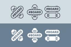 Vectorembleem met skateboard Stock Foto
