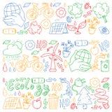 Vectorembleem, ontwerp en kenteken in in tekeningsstijl - nul afvalconcept, recycleer en gebruik opnieuw, verminder - ecologische royalty-vrije illustratie