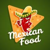 Vectorembleem van Mexicaans voedsel met rode Spaanse peperpeper en nachos Stock Afbeeldingen