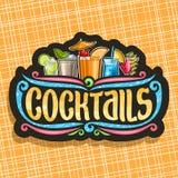 Vectorembleem voor Cocktails royalty-vrije illustratie