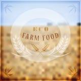 Vectorembleem voor de landbouw Vage landschapsachtergrond met rogge Royalty-vrije Stock Afbeelding