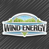 Vectorembleem voor Windenergie Stock Illustratie