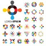 Vectorembleempictogrammen van mensen samen - teken van eenheid, partnershi Royalty-vrije Stock Afbeelding