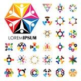 Vectorembleempictogrammen van mensen samen - teken van eenheid, partnershi Stock Foto's