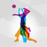 Vectorembleemvolleyball de volleyballspelers raakt een bal vector illustratie