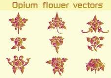 Vectoren van het opium de bloemenpatroon op Witte achtergrond Stock Foto's