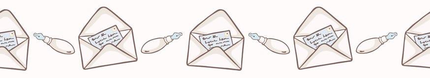 Vectorenvelop met hand geschreven notakaart en vulpen vector illustratie